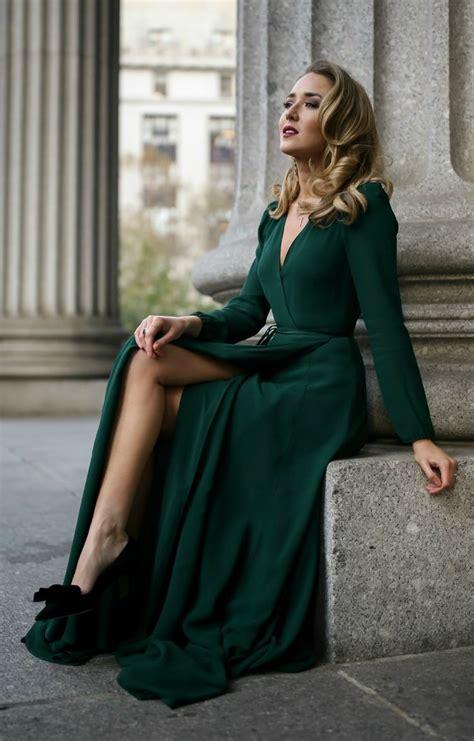 emerald green long sleeve floor length wrap dress black