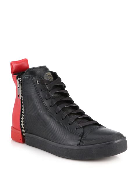 black high top leather sneakers diesel colorblocked zipped leather high top sneakers in