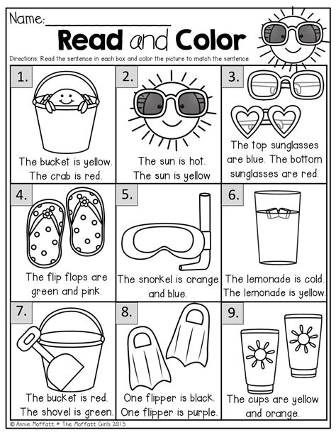 read colored summer review no prep 1st grade simple sentences