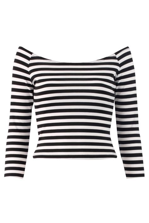 Witchery Twisted Sleeve Stripe Blouse White Stripe black and white striped tops polyvore black white stripe