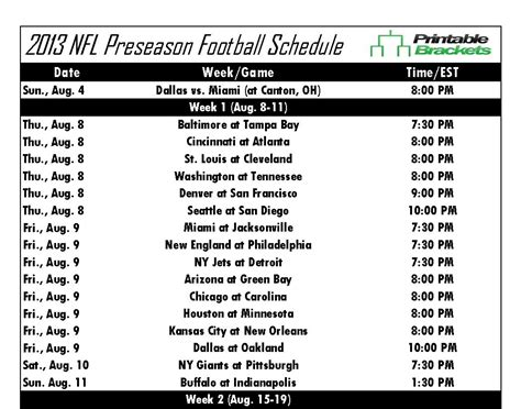printable nfl regular season schedule printable nfl preseason schedule released as start of
