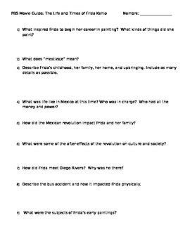biography documentary questions frida kahlo worksheets resultinfos
