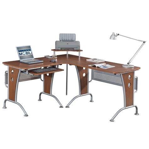Techni Mobili L Shaped Desk with Techni Mobili Space Saver Mahagonay Computer L Desk For Home Or Business