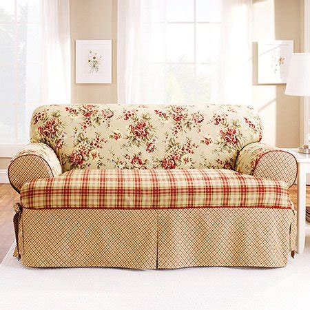 Sectional Slipcovers Walmart by Sure Fit T Cushion Sofa Slipcover Walmart