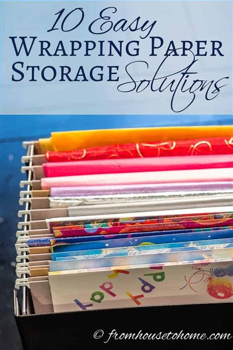 easy  creative wrapping paper storage solutions
