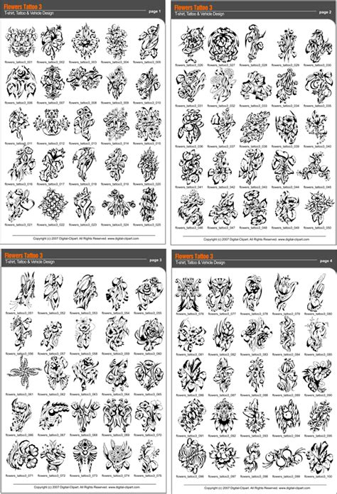 tattoo catalogue pdf flowers tattoo 3 extreme vector clipart for professional