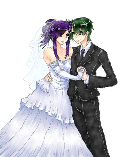 wedding anime anime wedding picture commission colored by embernaga on