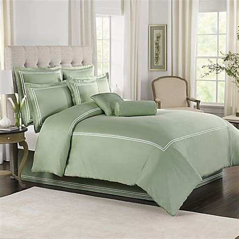 wamsutta 174 baratta stitch comforter set in sage bed bath