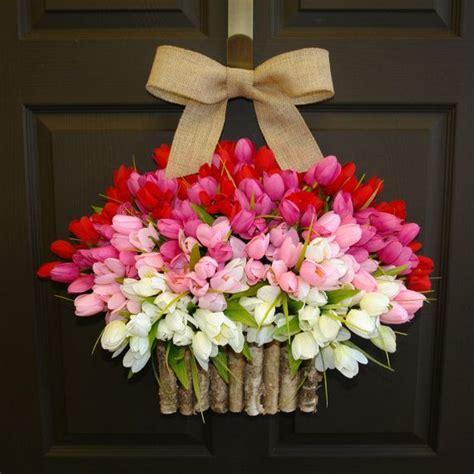 spring wreaths to make spring wreath summer wreath easter front door wreaths decorations red pink tulips spring wreath