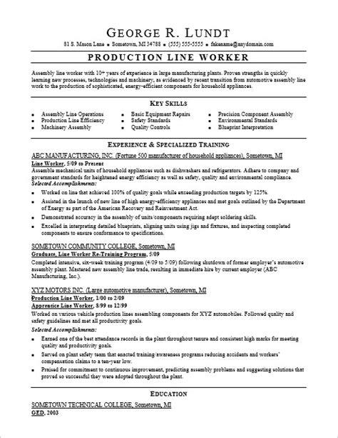 free sle resume assembly line worker production line resume sle