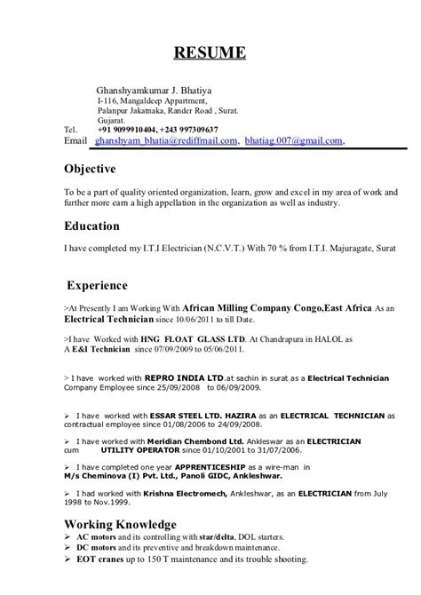 sle resume for iti electrician g resume