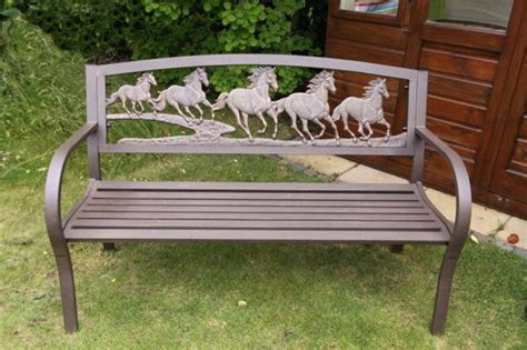 horse bench cast iron and steel horse bench garden furniture metal