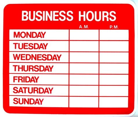 printable business hours sign template work from home salon hours establishing boundaries ask