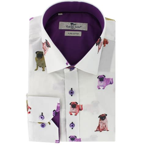 claudio lugli pug shirt claudio lugli pug print shirts cp6066 at the shirt store
