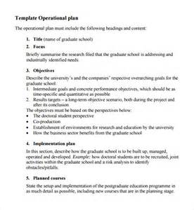 business operation plan template sle operational plan template 9 free documents in