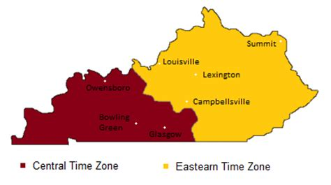 kentucky map with time zones us central time zone map