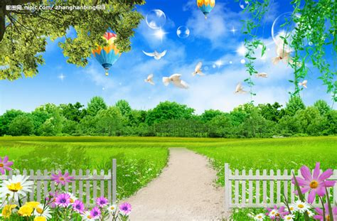 nipic com 寻找一张有篱笆 草地 白云的图片 百度知道