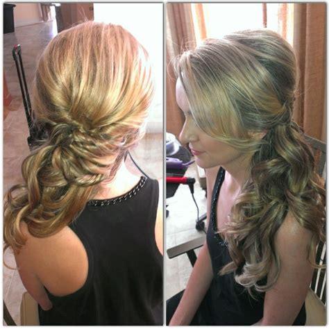 side swipe updo hairstyles wedding hair side pony side swept curls updo bridal