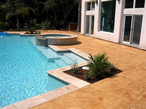 decorative concrete pool decks acid stained pool decks