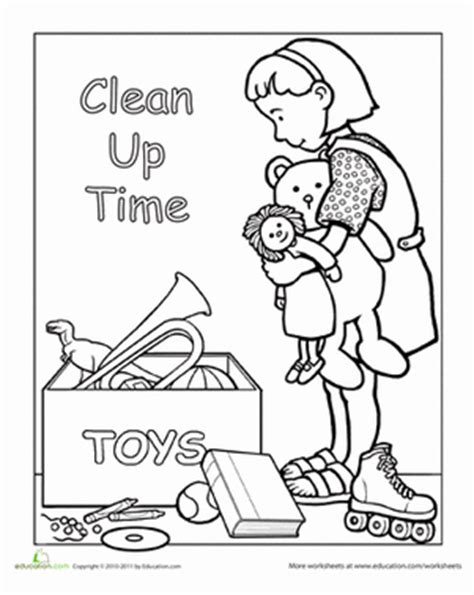toys coloring pages preschool clean up after yourself worksheets attendance chart and