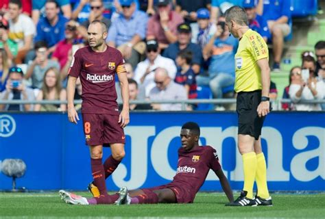 ousmane dembele knee injury ernesto valverde coy on great philippe coutinho as