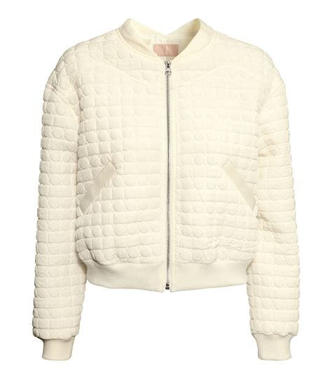 Bomber Quilted Jacket by H M Quilted Bomber Jacket In White Lyst