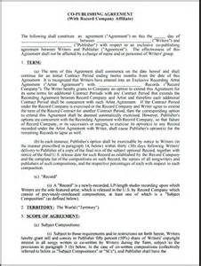 record label contract template co publishing contract with record company affiliate