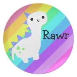 Kitchen Redo Ideas cute rainbow dinosaur plate zazzle