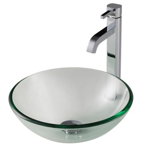 14 inch vessel sink kraus clear 14 inch glass vessel sink and ramus faucet