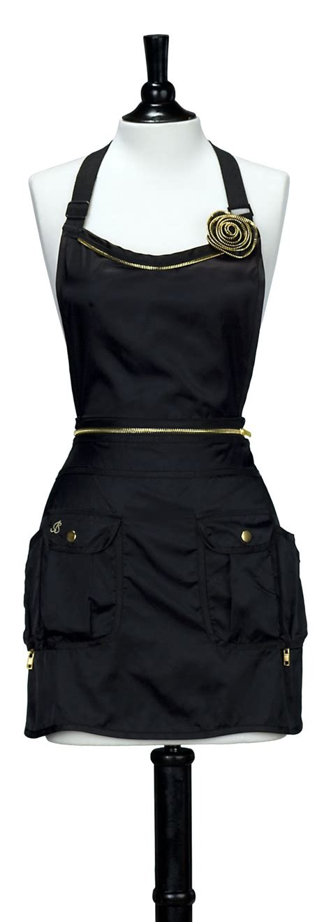 sewing utility apron black with gold convertible utility apron in the salon