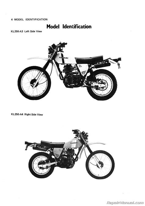 motocross bike repairs 1980 1983 kawasaki kl250 motorcycle service manual