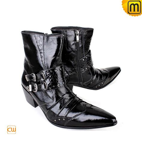 mens black leather dress boots cw769133