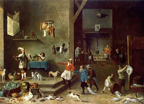 painting cooking the kitchen david teniers the younger biblioklept