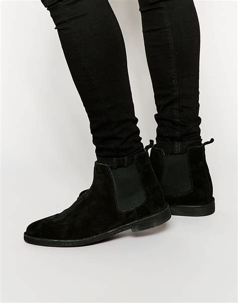 asos chelsea desert boots in black suede in black for