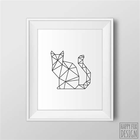 free printable wall art cat geometric cat art origami cat print digital modern