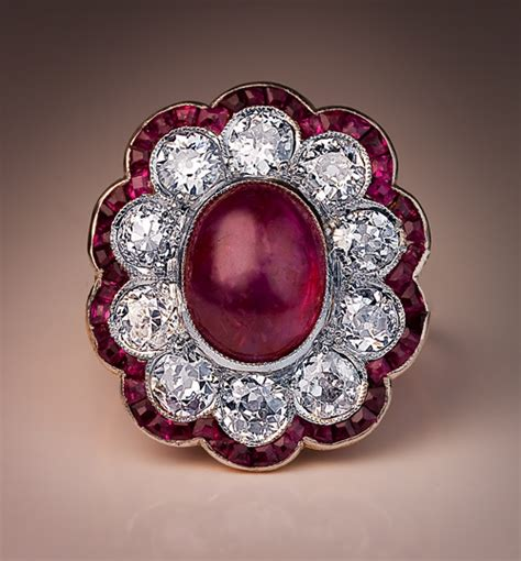 edwardian c 1910 antique ruby and engagement ring
