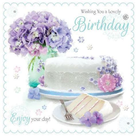 lovely birthday cake slice lilac flowers design female happy birthday card ebay