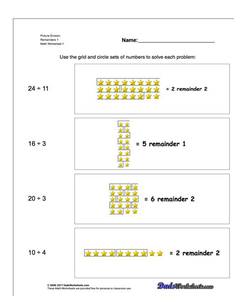 Dividing Worksheets by Picture Math Division