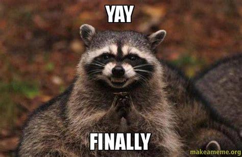 Yay Meme - yay finally evil plotting raccoon make a meme