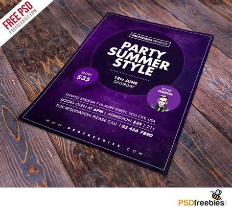 summer party flyer free psd template psdfreebies com