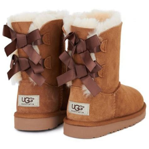 shoes brown white ugg boots bow shoes boots