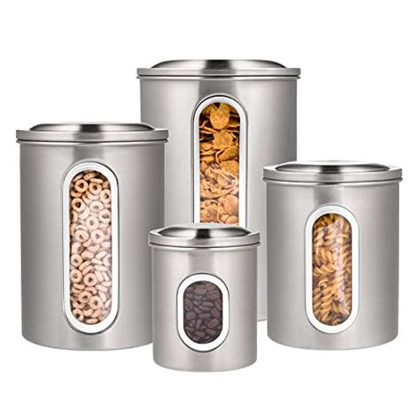 deppon 4 pieces stainless steel canisters set airtight