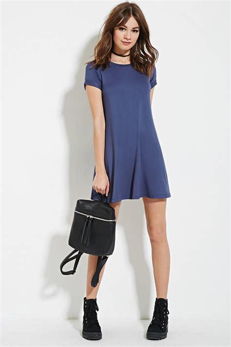 A Line T Shirt Dress lyst forever 21 a line t shirt dress in blue