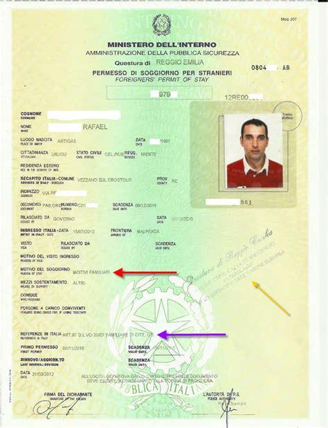 permesso di soggiorno per motivi di famiglia questura rilascia permesso di soggiorno a uruguayano