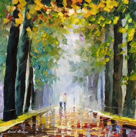 best painting best friends walking palette knife oil painting on canvas