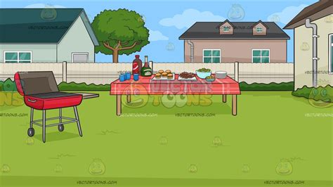 backyard clipart a backyard barbecue background cartoon clipart vector toons