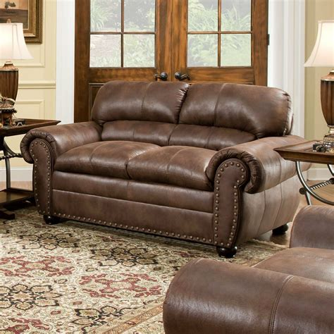 Leather Nailhead Sofa by Brown Leather Loveseat Modern Sofa Contemporary Faux
