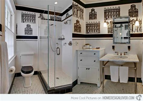 bathroom wallpaper nz black and white wallpaper in 15 bathrooms and powder rooms