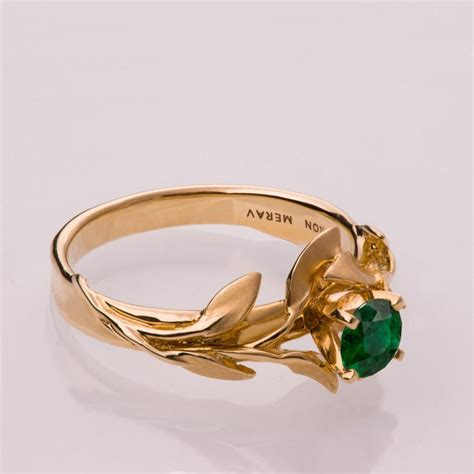 Vintage Verlobungsring by Leaves Engagement Ring No 4 14k Gold And Emerald