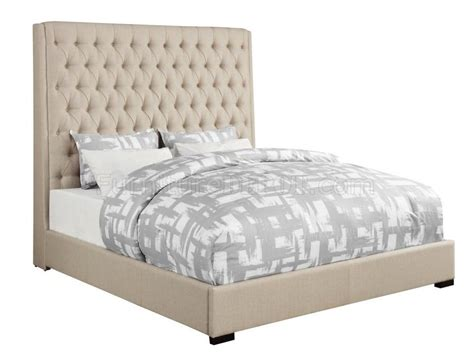 cream upholstered bed camille 300722 upholstered bed in cream fabric by coaster